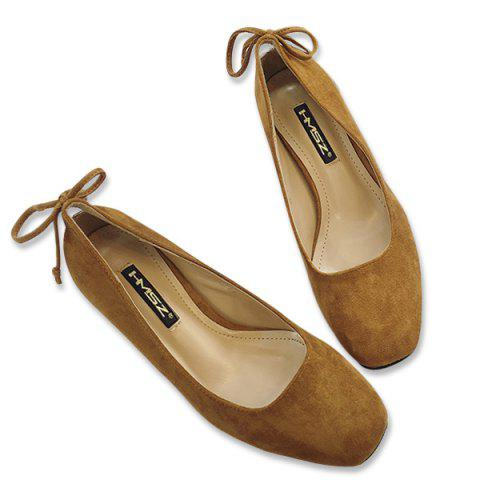 Square Toe Mid Heel Bow Pumps - Brown - 38