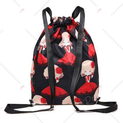 Shops Nylon Printed Drawstring Backpack - BLACK AND RED  Mobile