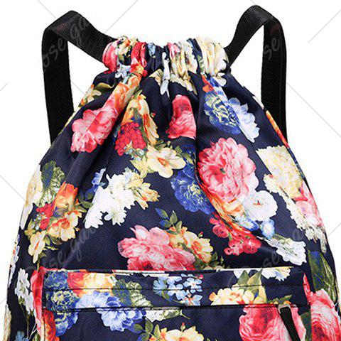 Affordable Nylon Printed Drawstring Backpack - DEEP BLUE  Mobile