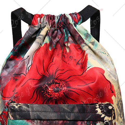 Fancy Nylon Printed Drawstring Backpack - RED  Mobile