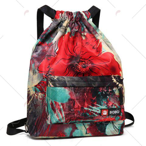 Affordable Nylon Printed Drawstring Backpack - RED  Mobile