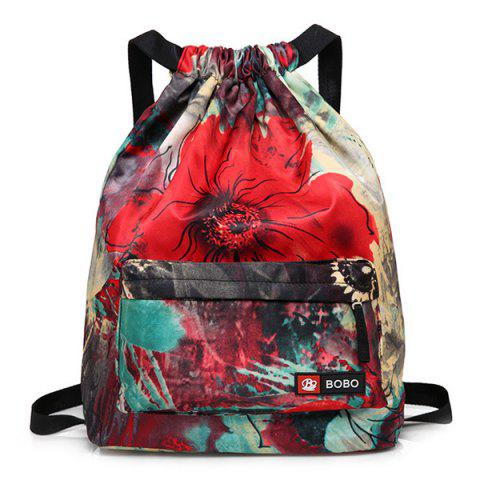 Shops Nylon Printed Drawstring Backpack - RED  Mobile