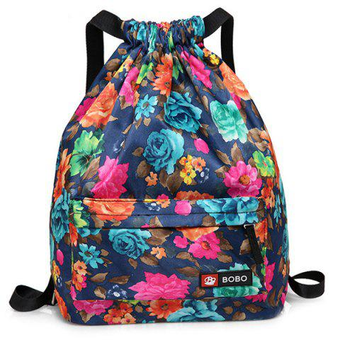 Affordable Nylon Printed Drawstring Backpack BLUE
