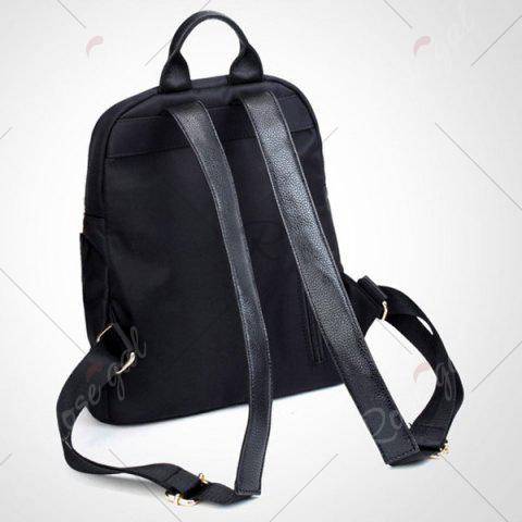 Outfits Zips Nylon Top Handle Backpack - BLACK  Mobile