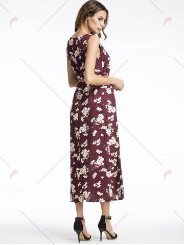 Outfits Bohemian Floral Print Midi Dress - 2XL WINE RED Mobile
