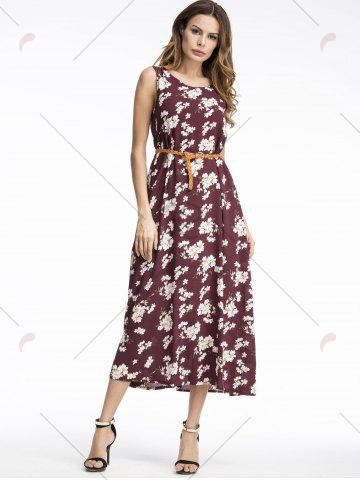Outfit Bohemian Floral Print Midi Dress - 2XL WINE RED Mobile