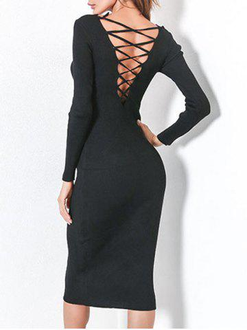 Latest Long Sleeve Lace Up Backless Bodycon Dress - ONE SIZE BLACK Mobile