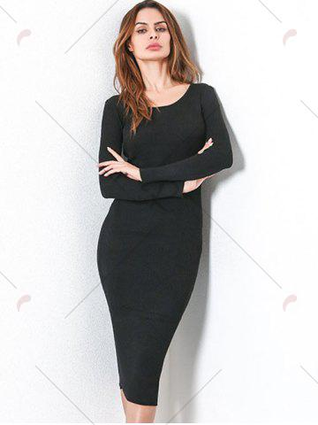 Fancy Long Sleeve Lace Up Backless Bodycon Dress - ONE SIZE BLACK Mobile