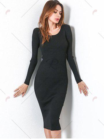 Outfits Long Sleeve Lace Up Backless Bodycon Dress - ONE SIZE BLACK Mobile