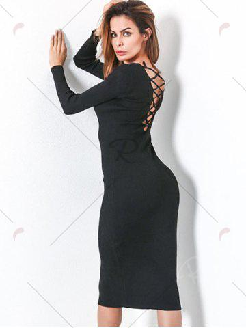 Shops Long Sleeve Lace Up Backless Bodycon Dress - ONE SIZE BLACK Mobile