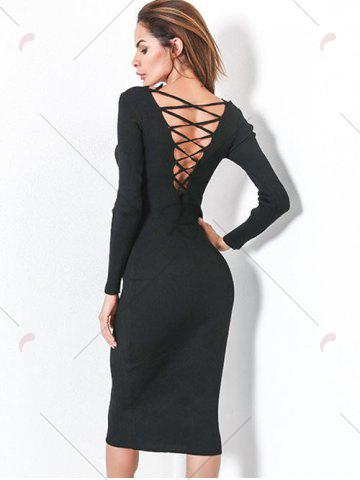 Outfit Long Sleeve Lace Up Backless Bodycon Dress - ONE SIZE BLACK Mobile