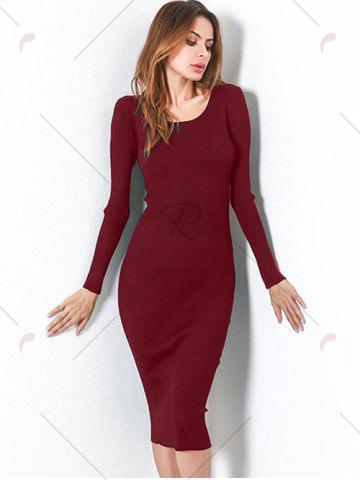 Shops Long Sleeve Lace Up Backless Bodycon Dress - ONE SIZE WINE RED Mobile