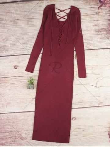 Chic Long Sleeve Lace Up Backless Bodycon Dress - ONE SIZE WINE RED Mobile