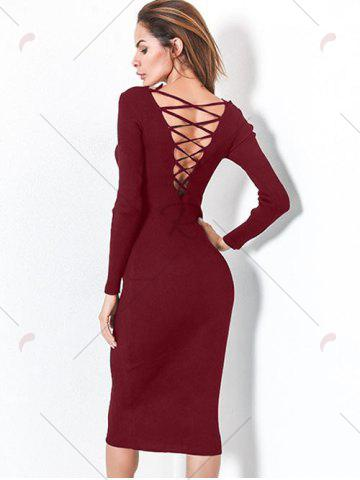 Outfit Long Sleeve Lace Up Backless Bodycon Dress - ONE SIZE WINE RED Mobile