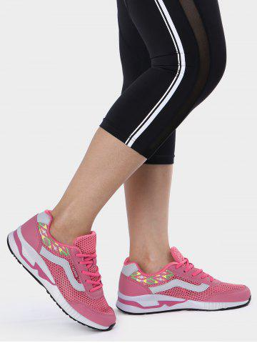 Fancy Geometric Pattern Breathable Athletic Shoes - 38 PEACH RED Mobile