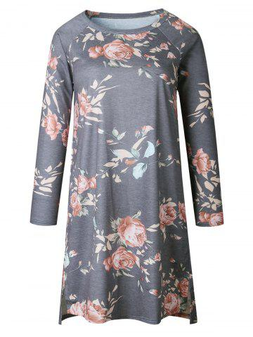 Long Sleeve Casual Floral Print Dress - Gray - Xl