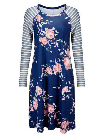 Floral Striped Long Sleeve Casual Dress - Blue - S