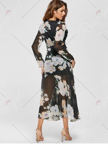 Outfits Sheer Slit Floral Maxi Long Sleeve Chiffon Dress - S BLACK Mobile