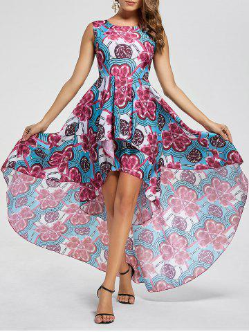 Chic Layered Printed High Low Dress - M RED Mobile