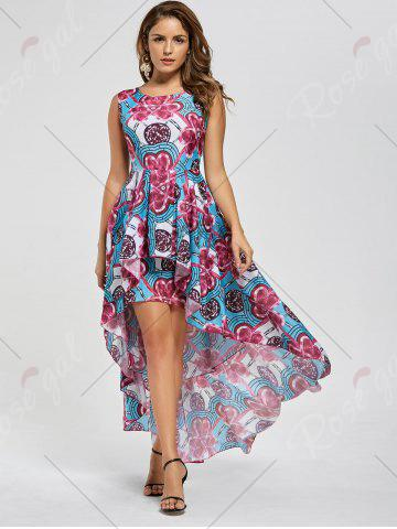 Latest Layered Printed High Low Dress - M RED Mobile