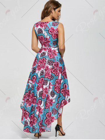 Sale Layered Printed High Low Dress - M RED Mobile