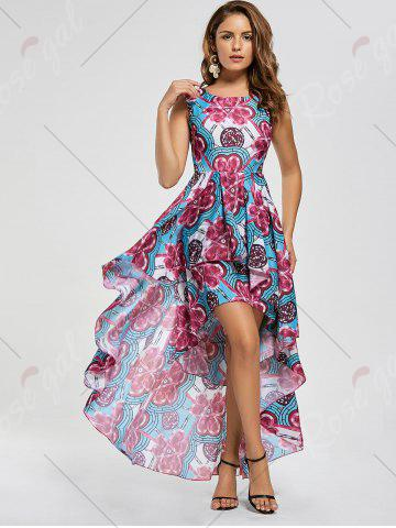 Outfits Layered Printed High Low Dress - M RED Mobile