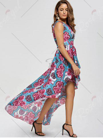 Shop Layered Printed High Low Dress - M RED Mobile