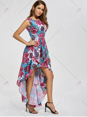 Store Layered Printed High Low Dress - M RED Mobile