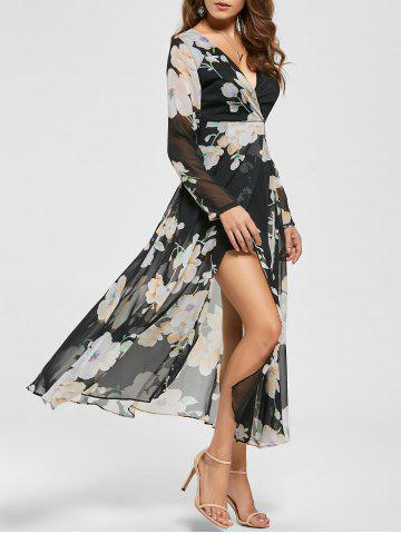 Latest Sheer Slit Floral Maxi Long Sleeve Chiffon Dress - L BLACK Mobile