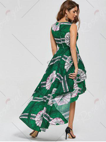 Sale Layered Printed High Low Dress - M GREEN Mobile