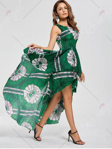 Best Layered Printed High Low Dress - M GREEN Mobile
