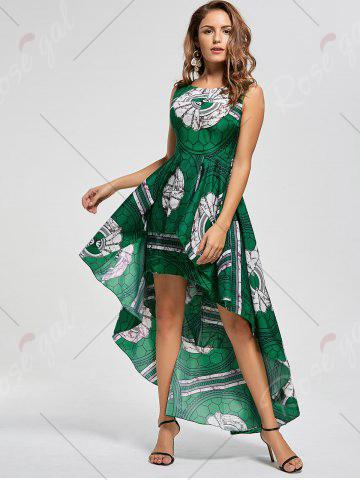 Hot Layered Printed High Low Dress - M GREEN Mobile