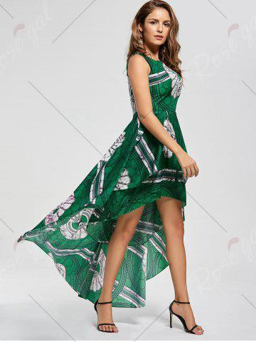 Shops Layered Printed High Low Dress - M GREEN Mobile