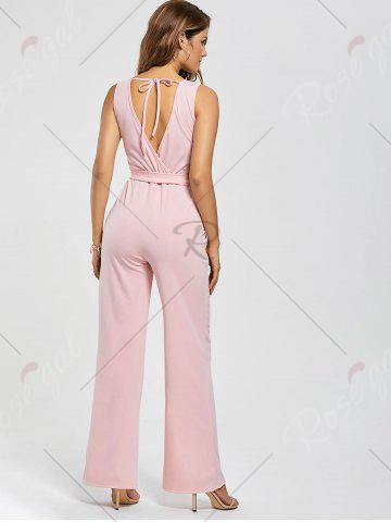 Fancy Cutout Wide Leg Jumpsuit - L PINK Mobile
