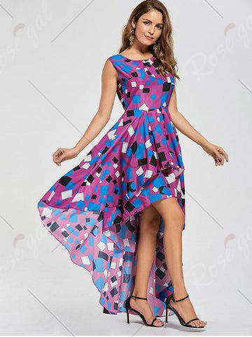 Unique Layered Printed High Low Dress - M PURPLISH RED Mobile