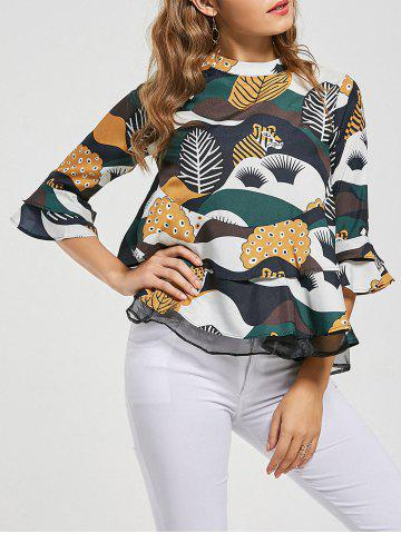 Shop Printed Bell Sleeve Peplum Blouse COLORMIX M