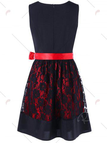 New Sleeveless Lace Up Two Tone Dress - M RED WITH BLACK Mobile