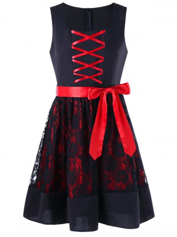 Outfit Sleeveless Lace Up Two Tone Dress - M RED WITH BLACK Mobile
