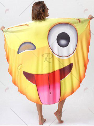 Store Naughty Tongue Expression Print Round Beach Blanket Throw - ONE SIZE YELLOW Mobile