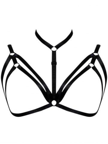 Cupless Strappy Cut Out Choker Bra - Black - One Size