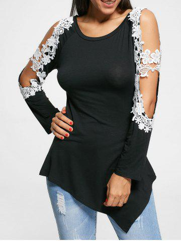 Long Sleeve Cut Out Floral Applique Top - Black - 2xl