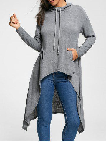 Fashion Longline Slash Pockets Dovetail Hoodie GRAY M