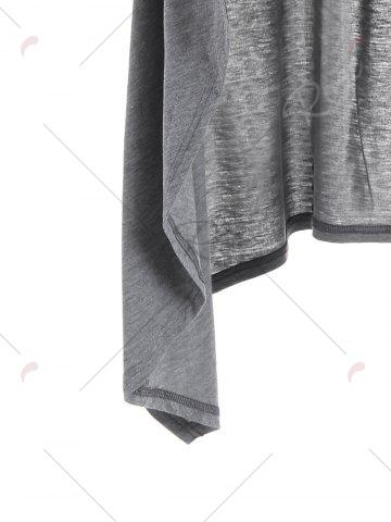 Affordable Longline Slash Pockets Dovetail Hoodie - M GRAY Mobile