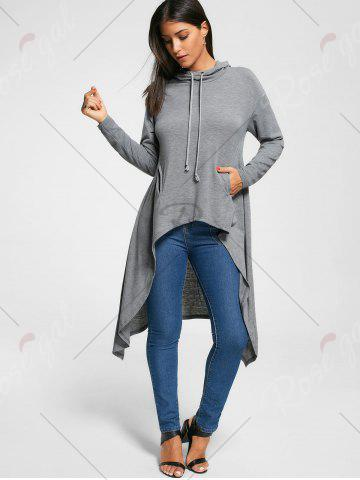 Discount Longline Slash Pockets Dovetail Hoodie - M GRAY Mobile