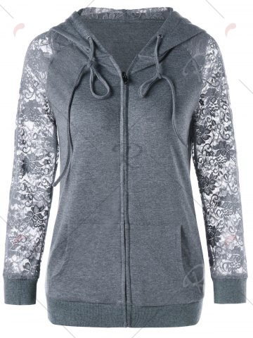 Fancy Lace Trim Drawstring Neck Hoodie - M FROST Mobile
