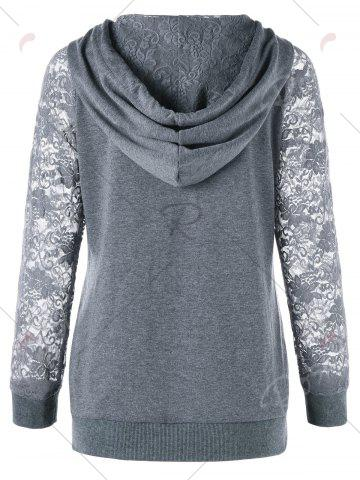 Fashion Lace Trim Drawstring Neck Hoodie - M FROST Mobile
