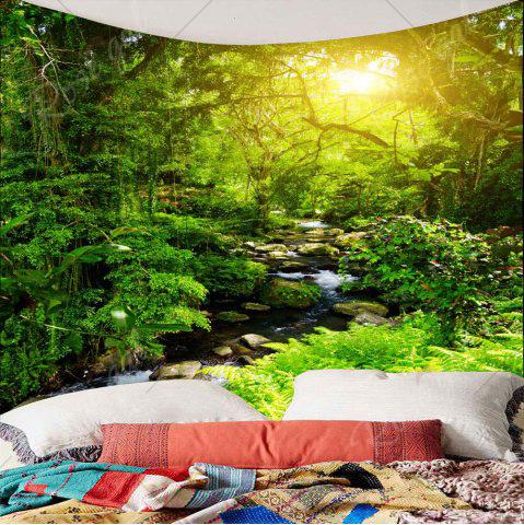 Unique Forest Stream Sunlight Waterproof Wall Art Tapestry - W79 INCH * L79 INCH GREEN Mobile