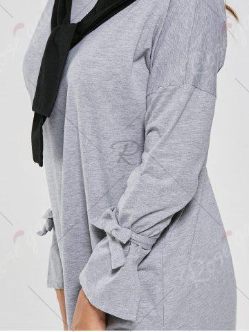 Outfit Long Sleeve Slit Front Tie Shift Dress - S GRAY Mobile