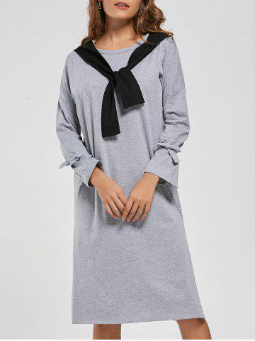 Store Long Sleeve Slit Front Tie Shift Dress - S GRAY Mobile