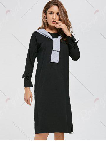 Chic Long Sleeve Slit Front Tie Shift Dress - S BLACK Mobile